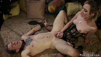 Slave finished in rope bondage and gagged made to worship mistress feet Thumbnail