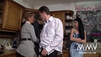 European slim brunette Meli Deluxe sharing with a bbw mature lady a horny german guy in threesome