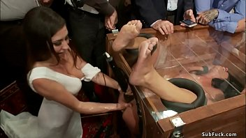 Brunette mistress Princess Donna Dolore fists pussy to bound brunette slave in glass box Adriana Chechik then Astral Dust fucks her at public party