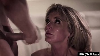 Stepson is fed up by having to take home hot chicks for his knows shes watching him fuck his date and when she joins in he makes her suck his cock for the first bangs her rough while she licks his date and jerks off in her face