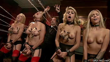 Four famous pornstars Krissy Lynn and Madelyn Monroe and Dee Williams and Carmen Caliente are bound and humiliated and fucked at bdsm brunch party in the Upper Floor