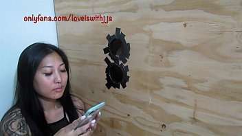 Gloryhole blowjob with tattooed Asian