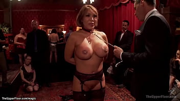 Huge boobs brunette MILF slave Ava Devine in doggy position ass fucked with dildo on a stick then pounded by big dick at bdsm orgy party