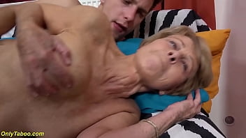 skinny extreme sexy grandma gets rough and deep fucked by her big dick stepgrandson