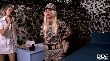 Hot XXX military lesbian sex scene with blonde babes Erica Fontes and Jessie Volt