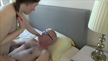 Grandpa and his young whore shamelessly kiss suck lick & fuck