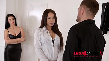Submissive BDSM threesome game with latex lovers Regina Sparks & Nelly Kent GP810