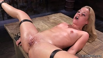 Petite and skinny blonde babe gets pussy fisted in threesome slave training