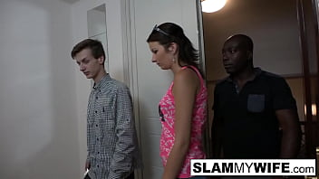 Hot slut takes a big black cock in front of her man