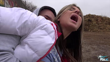 Yummy sexy babe showing her very new public sex experience, taking cum in her mouth
