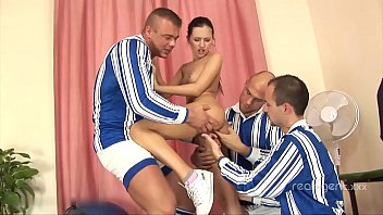 3 soccer players fucks hard in ass skinny Russian babe