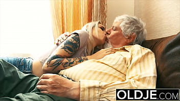 Teen riding grandpa cock and takes juicy cumshot from him