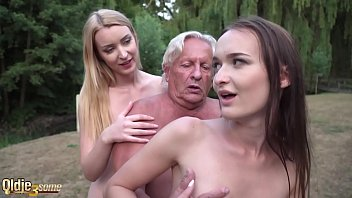 Old and young threesome sexy girls fuck fat grandpa and suck his cock