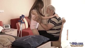 Old Young - Big Cock Grandpa Fucked by Teen she licks thick old man penis