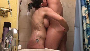 Blue Hair PAWG First Time Anal in Shower with Sexy Bearded Man