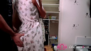 Horny Babe Sucking Big Dick and Rough Fuck in the closet - Secret Sex