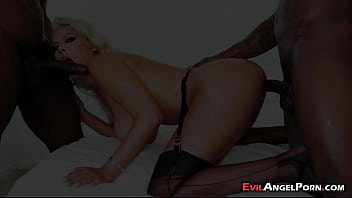 Classy blonde in stocking receiving black cocks