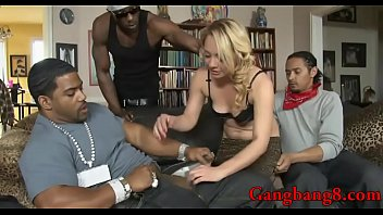 Nasty blonde babe Bambi Diamond giving sloppy blowjob and gets double stuffed in her pussy asshole by massive black boners