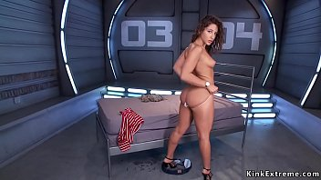 Watch Stunning brunette beauty Abella Danger undresses underwear and then in rope bondage with butt plugged takes fucking machine in pussy solo preview