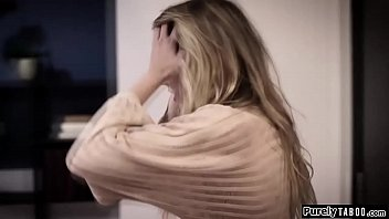 Blonde teen sees her 2nd cousin after quite a while.Shes stressed out cause of her feelings for him.When she finally tells they start to kiss.they get naked and shes fingered while throating his hard cock.He then doggystyles her hard