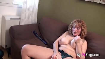 Masturbation with blonde busty mature