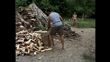 Redhaired slut gets boned by horny Hershey highwayman near the place for firewood chopping up