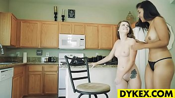 Hot brunette fucked with her lesbian friend