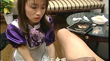 horny asian guy rubs his pretty maids tits and hets hard cock suck