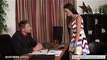 Babe in pantyhose Rahyndee James gets facialized