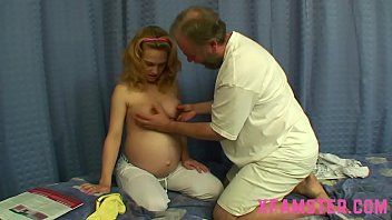 This pregnant horny teen bitch showing you great skills during fat blowjob