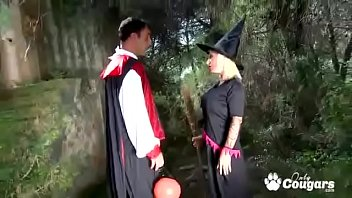 gina snake banged on halloween by two scary cocks