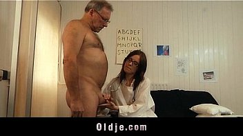 Watch Young doctor fucking and sucking old patient cock_with her glasses on preview