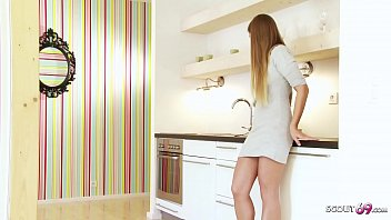 Bro suprise Skinny Stepsister in kitchen at morning and talk her to deep ass fuck