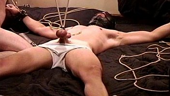 CBT bondage and ball stretching with cum