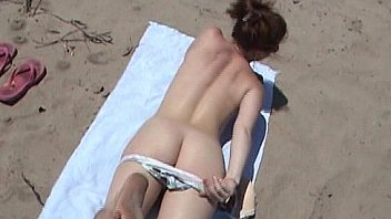 Sexy college bikini beach babe nude with firm amateur ass in public