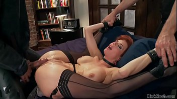 Master James Mogul makes redhead busty MILF trainee Veronica Avluv holding flowers on plates in bondage then huge black cock Mickey Mod anal fucks her