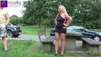 German slut, swallows outdoor, from every cock, pee and cum and lets fuck the mouth! Extreme Public-GangBang! No.1