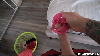 Stepmom leaves her dirty panties in the hamper but pervy stepson likely to come into her room and sniff them