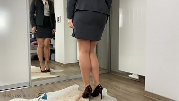 secretary dressing for office work and trying new panties