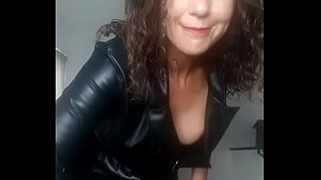 Gina in leather stomping cock