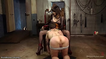 Big tits brunette MILF femdom Danielle Foxxx in lingerie whips ass to tattooed man slave Will Havoc while he licking her pussy then gives him pegging
