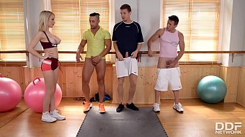 Watch Blonde workout instructor Chessie Kay takes three big dicks down her hungry throat preview