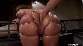 Big ass and tiny tits brunette slave trainee Savannah Fox is made suck huge dick to caged man Owen Gray while master James Mogul anal finger fucking her