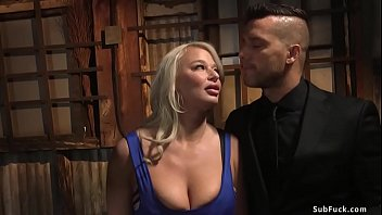Husband caught hot huge tits blonde MILF wife London River cheating on him and after she escaped in dungeon of Ramon Nomar he anal banged her with big cock in bdsm