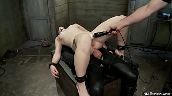 Master and slave trainer James Mogul fucks throat and pussy with dick on a stick to sexy blonde Ella Nova then makes her anal fuck big cock gimp Owen Gray