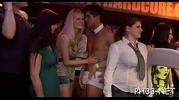 Tons of oral stimulation from blondes and massing group sex at night club
