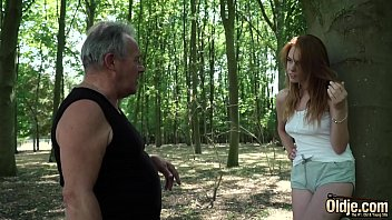 Sensual sex and hot moaning for horny redhead having sex with old man