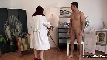 An old bitch with a shaved pussy gives herself a fuck for a young handsome