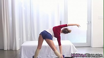 Tiny ballerina gets facial after getting fucked and fingered
