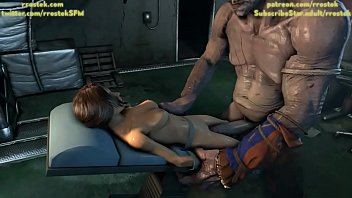 Coach and Monster fucking Lara Croft hard deepthroat and in the pussy 3D Animation